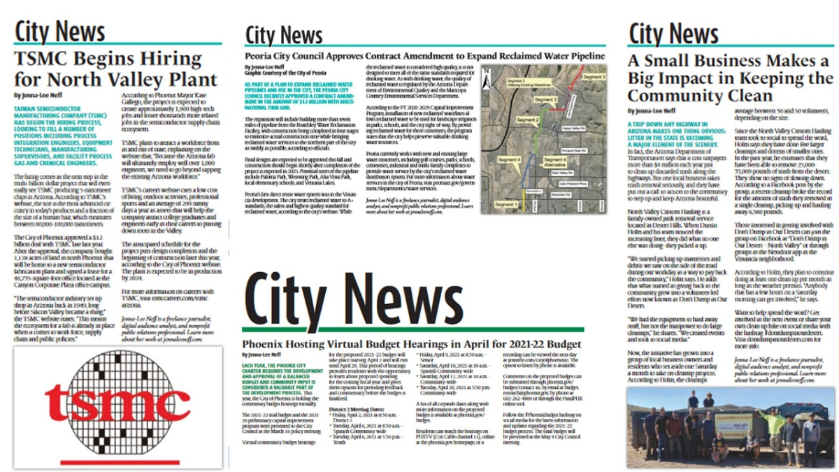Clippings of newspaper articles for April 2021